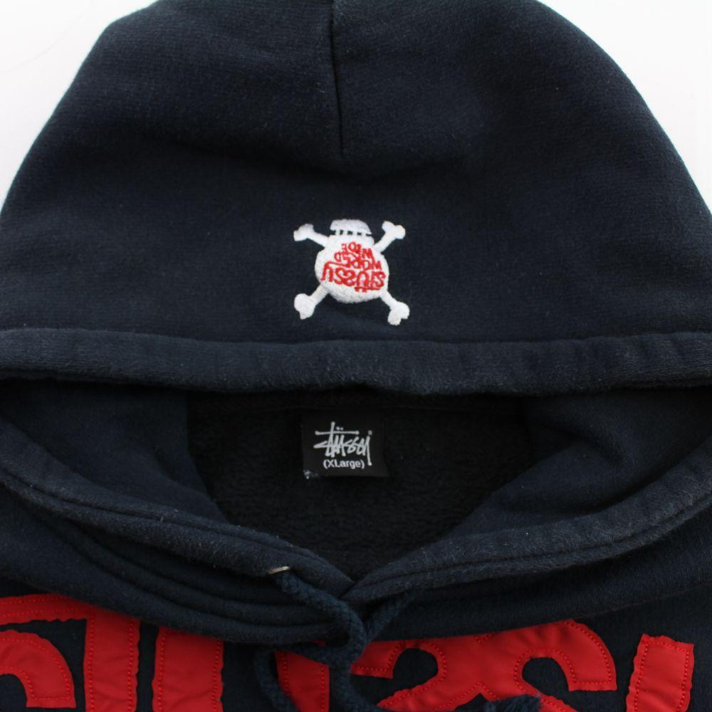 Stussy World Tribe Text Hoodie Navy