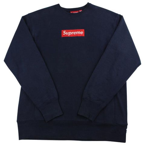 Supreme red on navy box logo crewneck early 2000's - SaruGeneral