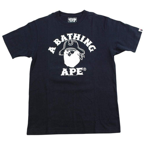 Bape White Pirate Store College Logo Tee Black - SaruGeneral