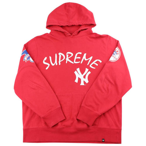 supreme x new york yankees hoodie red 2015 - SaruGeneral