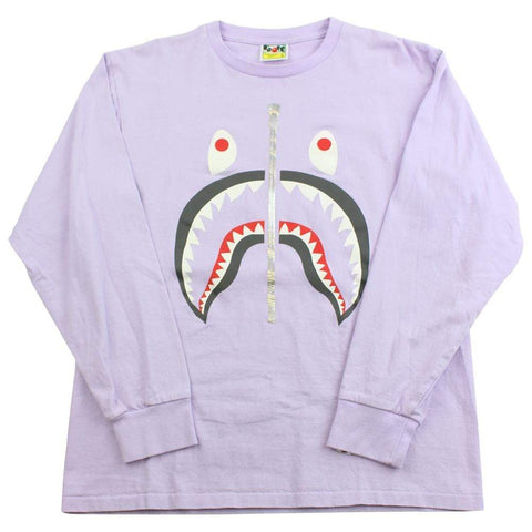 Bape Grey Shark Face Purple LS - SaruGeneral