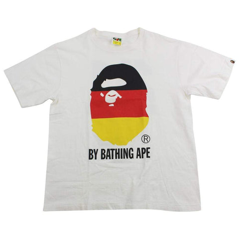 Bape German Flag Big Ape Logo Tee White - SaruGeneral