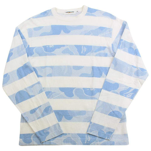 Bape ABC Blue Camo Striped LS White - SaruGeneral