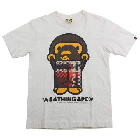 Bape Milo Plaid Bag Big Ape Logo Tee White - SaruGeneral