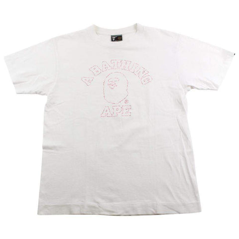 Bape ABC Pink Camo Outline College Logo Tee White - SaruGeneral