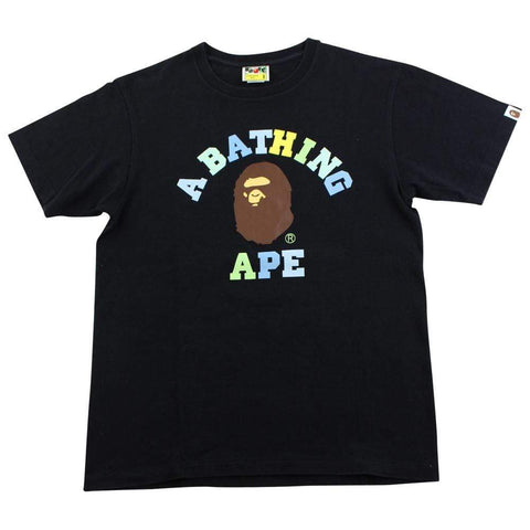 Bape Gradient Text College Logo Tee Black - SaruGeneral