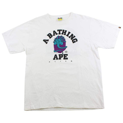 Bape Alien College Logo Tee White - SaruGeneral