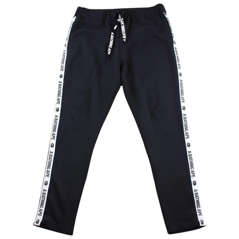 Bape A Bathing Ape Text White Stripe Track Pants Black - SaruGeneral