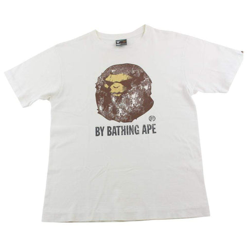 Bape Angry Face Distressed Big Ape Logo Tee White - SaruGeneral