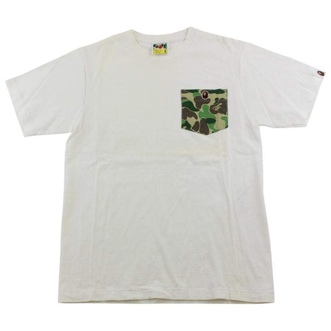 Bape ABC Green Camo Pocket Tee White - SaruGeneral