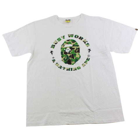 Bape Busy Works ABC Green Camo Logo Tee White - SaruGeneral