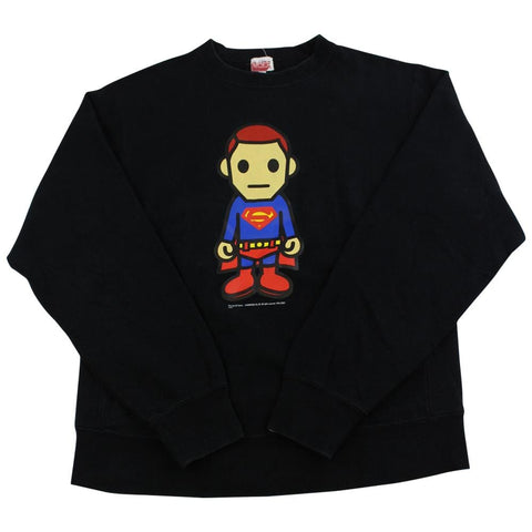 bape x dc comics superman crewneck black - SaruGeneral