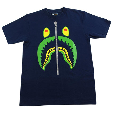 bape green shark face tee navy - SaruGeneral