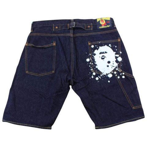 Bape Big Ape Paint Drip Denim Shorts - SaruGeneral