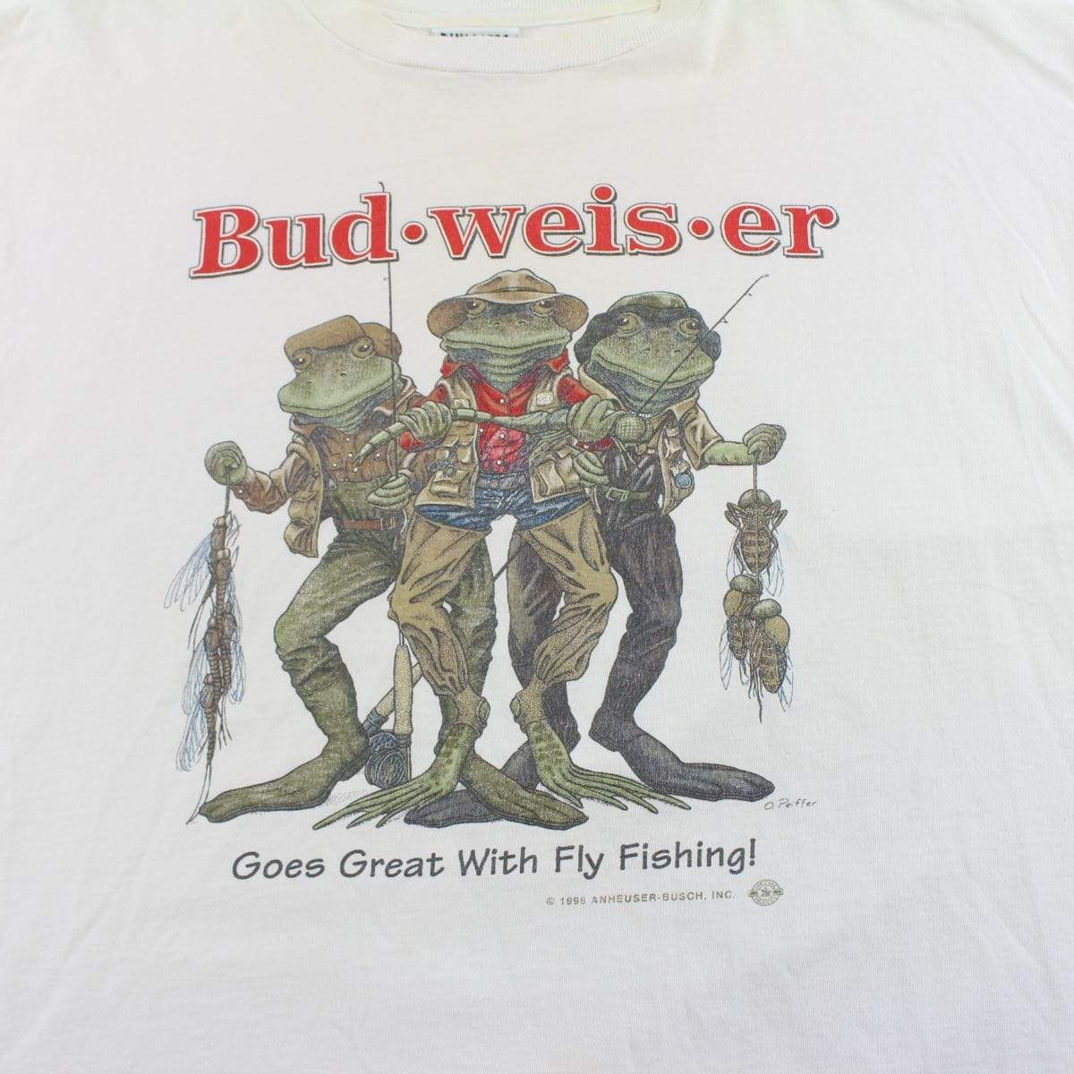 Budweiser Fly Fishing Frogs Tee White - SaruGeneral