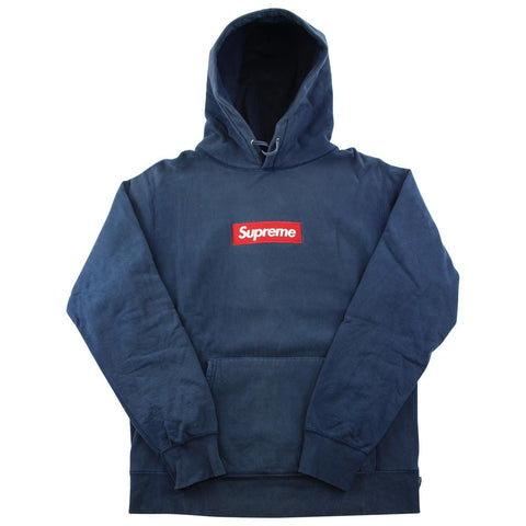 Supreme Red on Navy Box Logo Hoodie - SaruGeneral