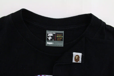 Bape Purple Checkered Big Ape Logo Tee Black - SaruGeneral