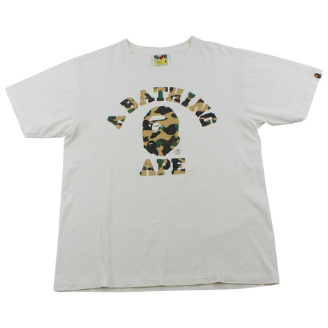 Bape 1st Yellow Camo College Logo Tee White - SaruGeneral