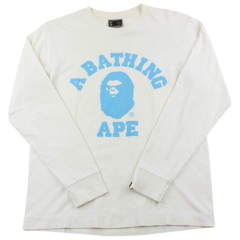 Bape Angry Face Blue College Logo LS White - SaruGeneral