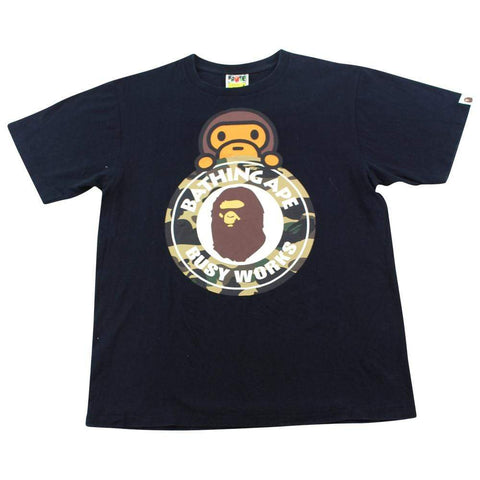 Bape 1st Yellow Busy Work Baby Milo Logo Tee Black - SaruGeneral