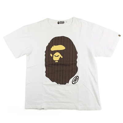 Bape Brown Stripe Big Ape Logo Tee White - SaruGeneral