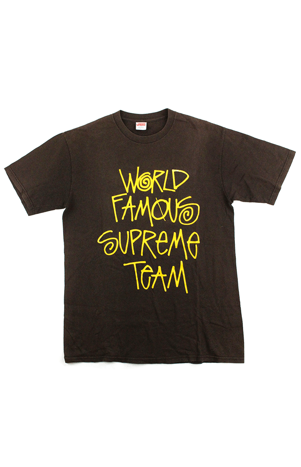 Supreme x Stussy World Famous Team Tee Brown