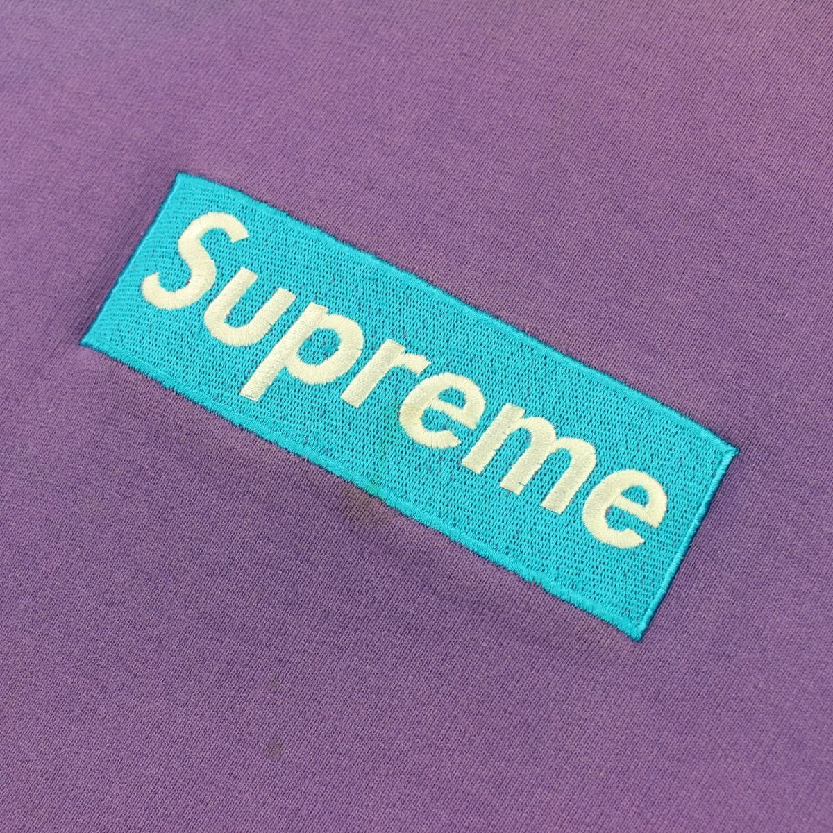 Supreme Teal on Purple Box Logo Crewneck - SaruGeneral