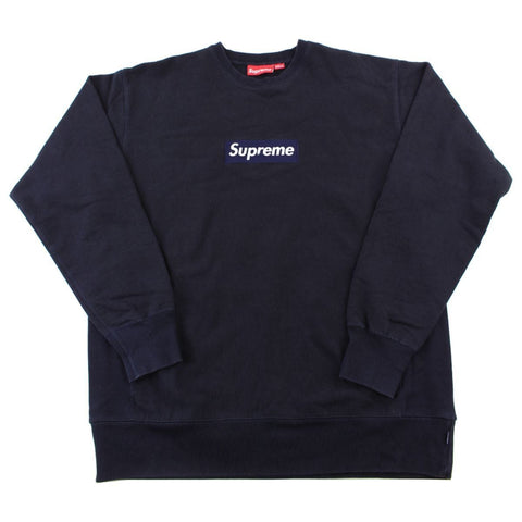 Supreme Navy Box Logo Crewneck Black
