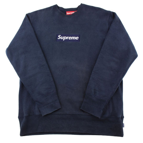 Supreme Navy on Navy Box Logo Crewneck