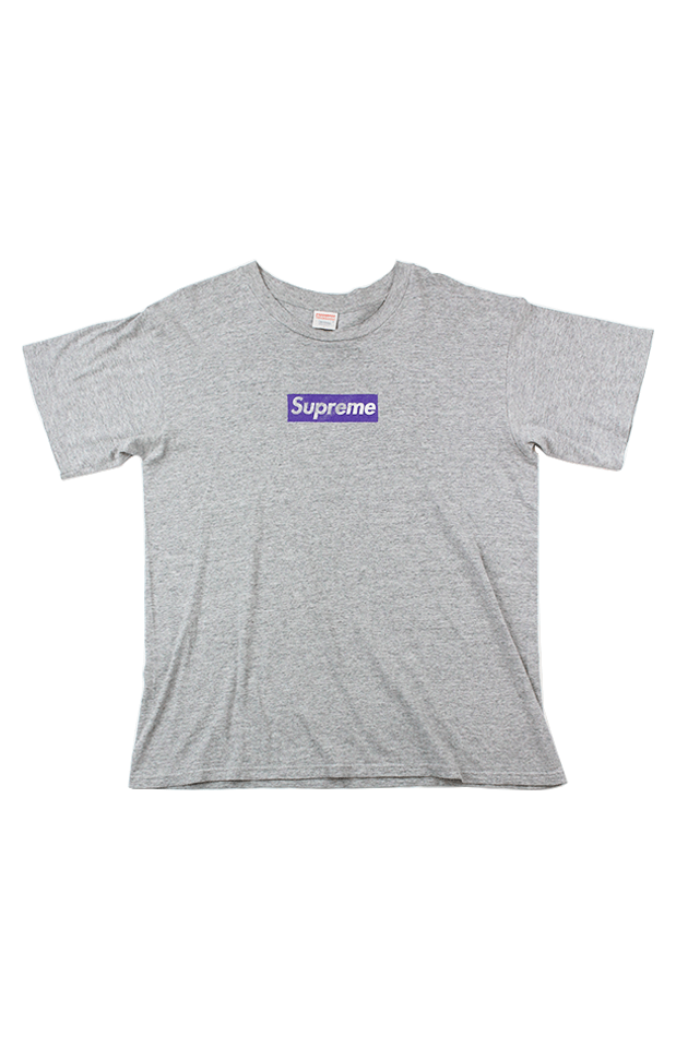 ad9529412175 Supreme Purple on grey box logo tee - SaruGeneral