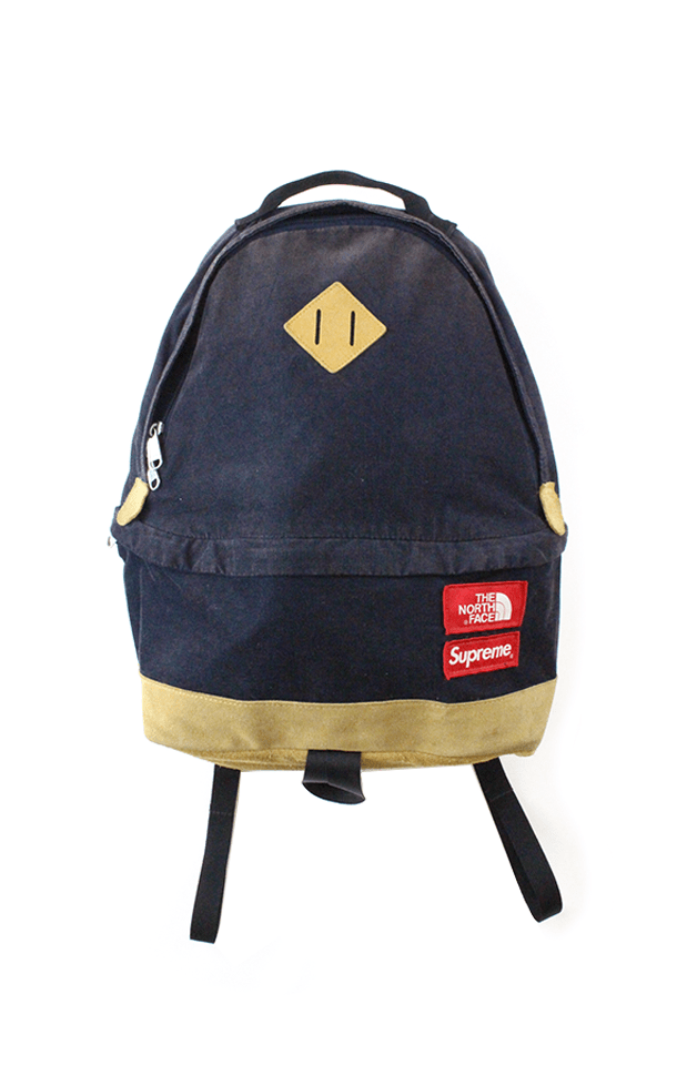 Supreme x TNF corduroy Backpack Navy - SaruGeneral