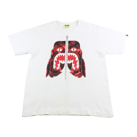 Bape Red Camo Tiger Shark Face Tee White - SaruGeneral