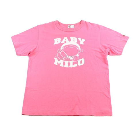 Bape Baby Milo Text Tee Pink - SaruGeneral