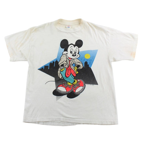 Vintage Mickey Mouse Nightscape Tee White