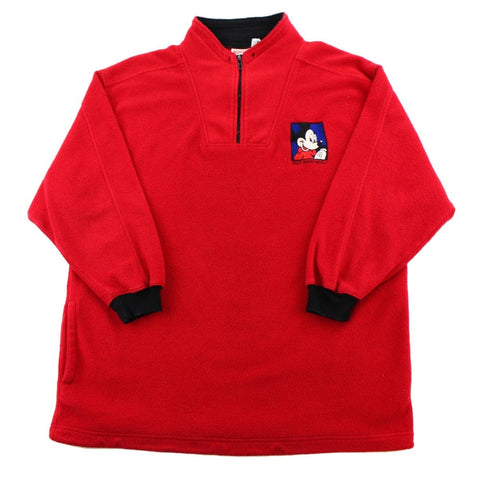 Vintage Mickey Mouse Quarter Zip Red