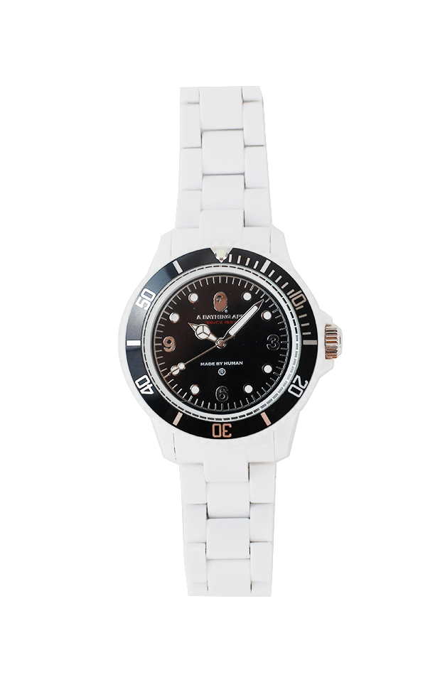 bapeX white BLACK plastic watch - SaruGeneral