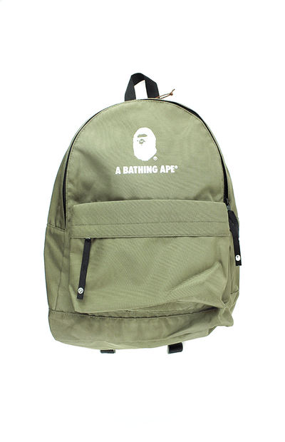 bape white big ape logo olive backpack - SaruGeneral