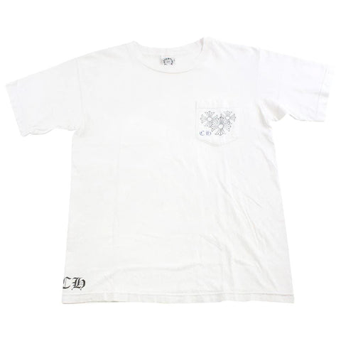 chrome hearts blue circle pocket tee white - SaruGeneral
