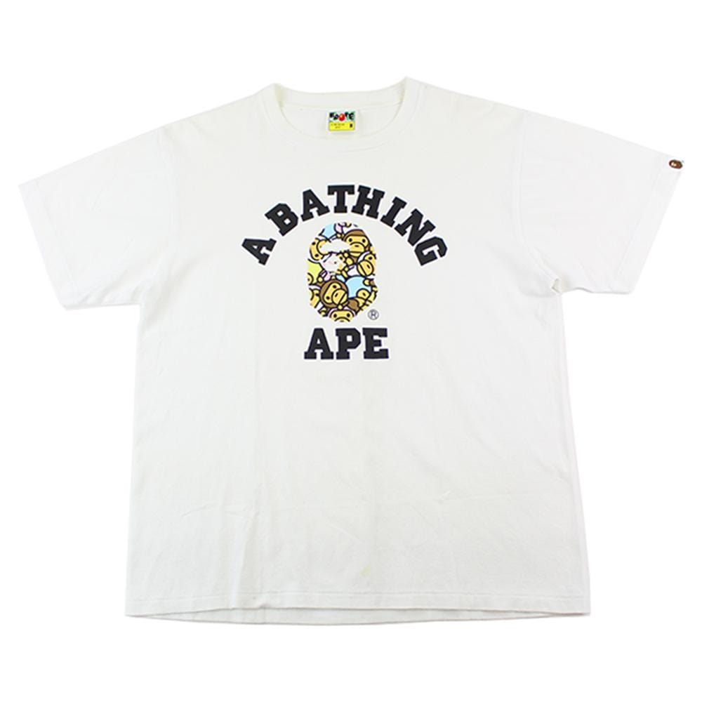 Bape Baby Milo figures College Logo Tee White - SaruGeneral