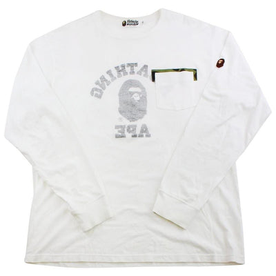 Bape backwards college logo pocket ls white - SaruGeneral