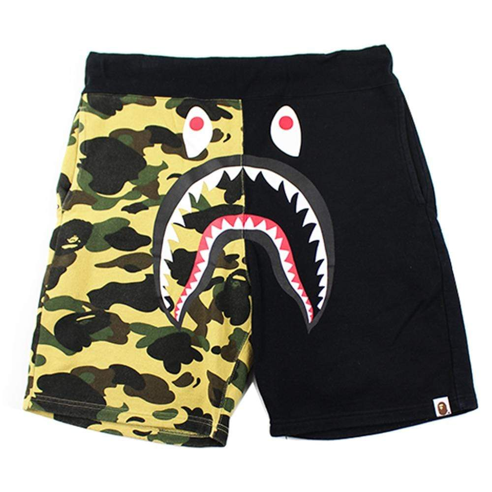 Bape 1st Yellow Camo Half Black Shark Shorts - SaruGeneral