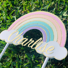 Load image into Gallery viewer, Pastel Rainbow Personalised Name Birthday Cake Topper