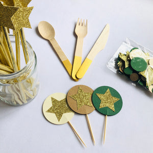 Gold Wooden Cutlery Set