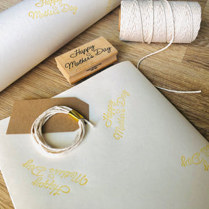 Mother's Day Hand Stamped Gift Wrapping Paper