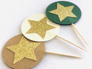 Natured Inspired Neutral Star Cupcake Topper