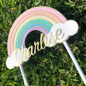 Pastel Rainbow Personalised Name Birthday Cake Topper