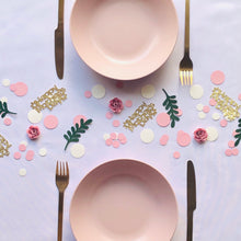 Load image into Gallery viewer, Pink,Vintage White, Green Leaves and Pink 3D Flower Table Confetti