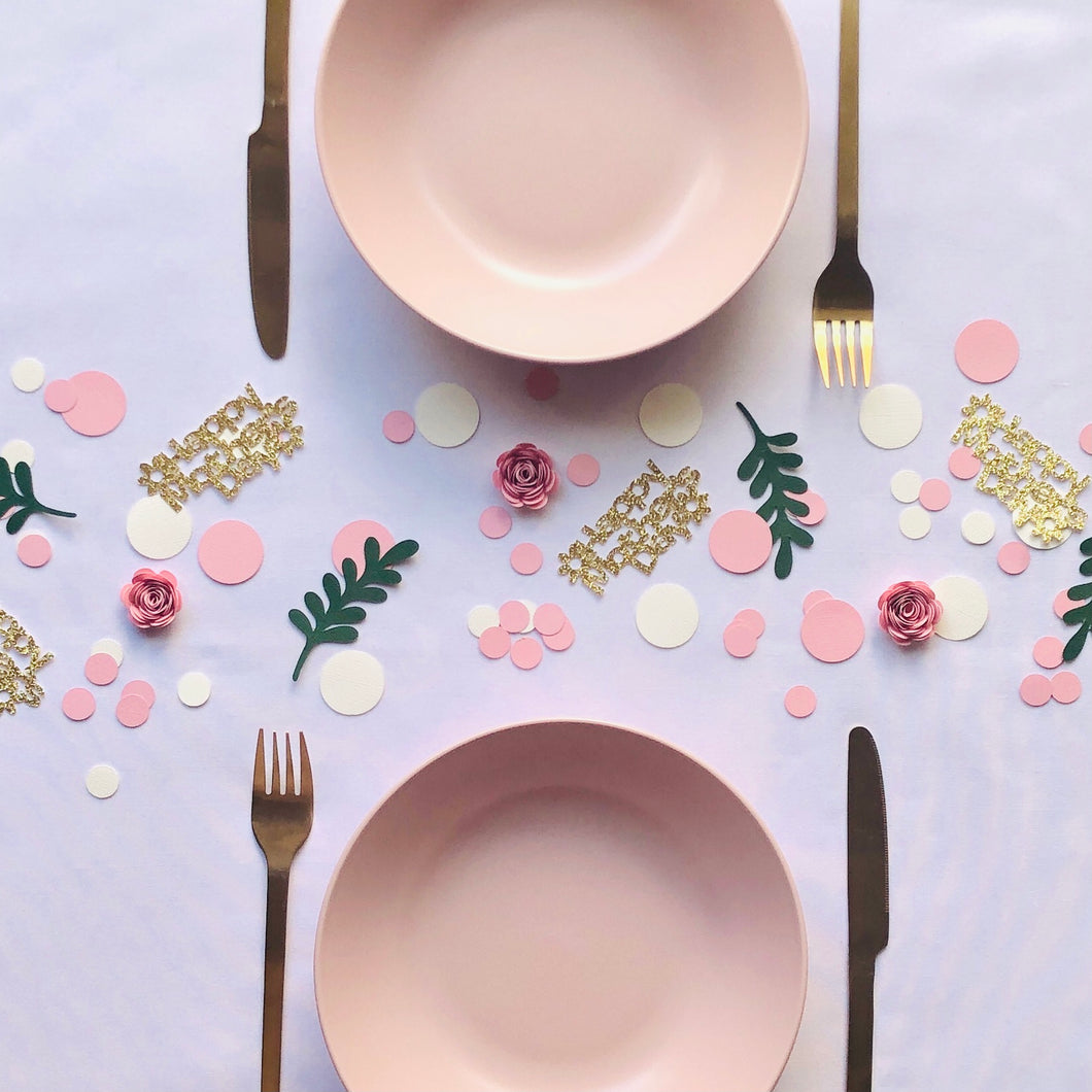 Pink,Vintage White, Green Leaves and Pink 3D Flower Table Confetti