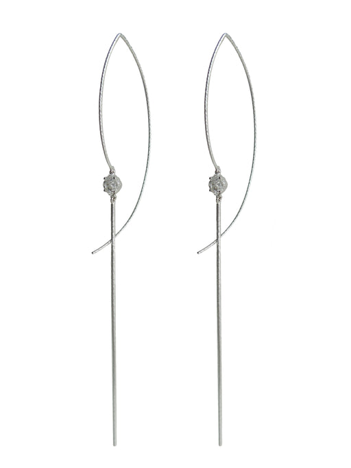 Single Floating Cluster Diamond Long Earring