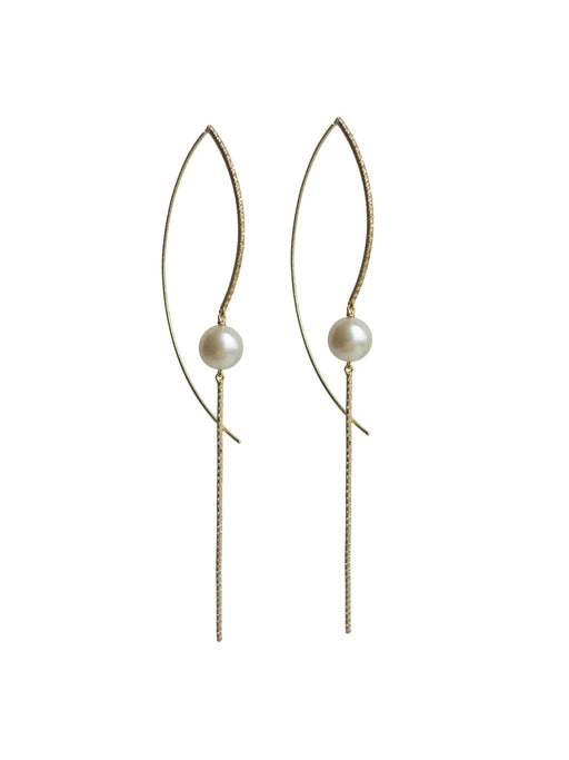 Single Floating Pearl And Diamond Earring
